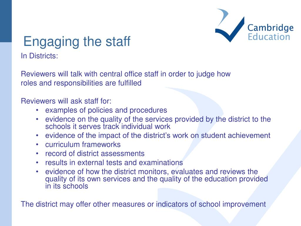 Engaging the staff