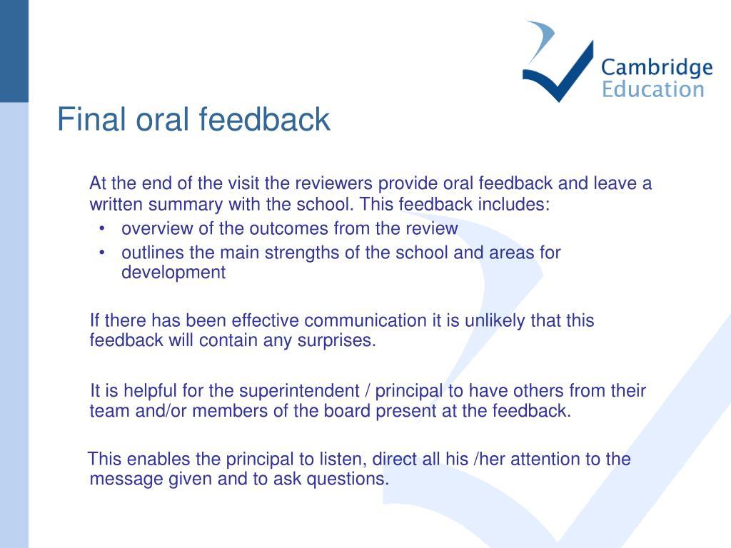 Final oral feedback