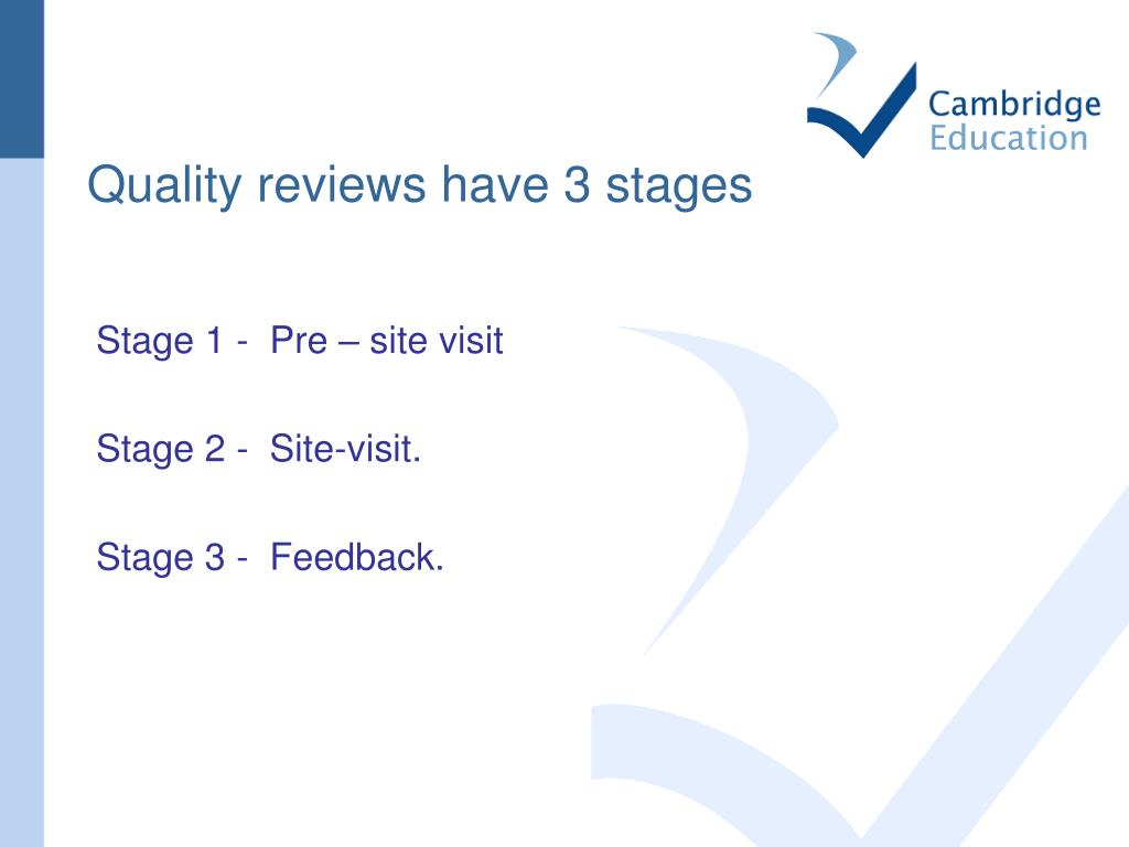 Quality reviews have 3 stages