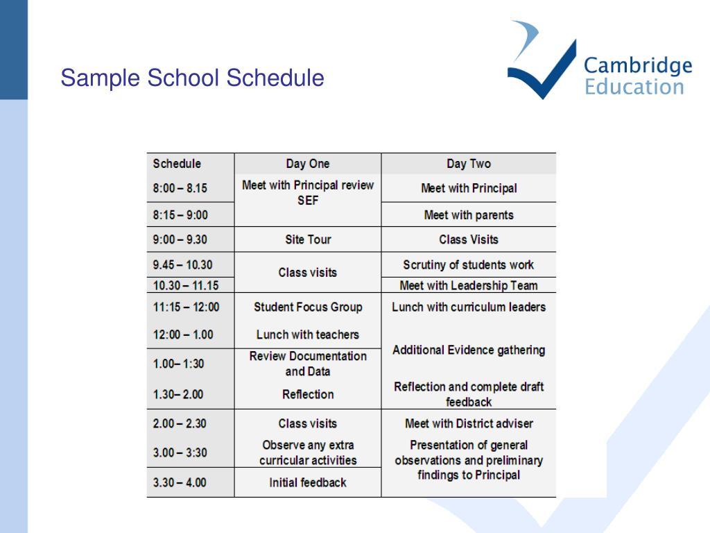 Sample School Schedule