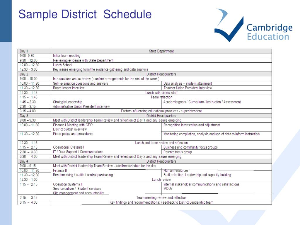 Sample District  Schedule