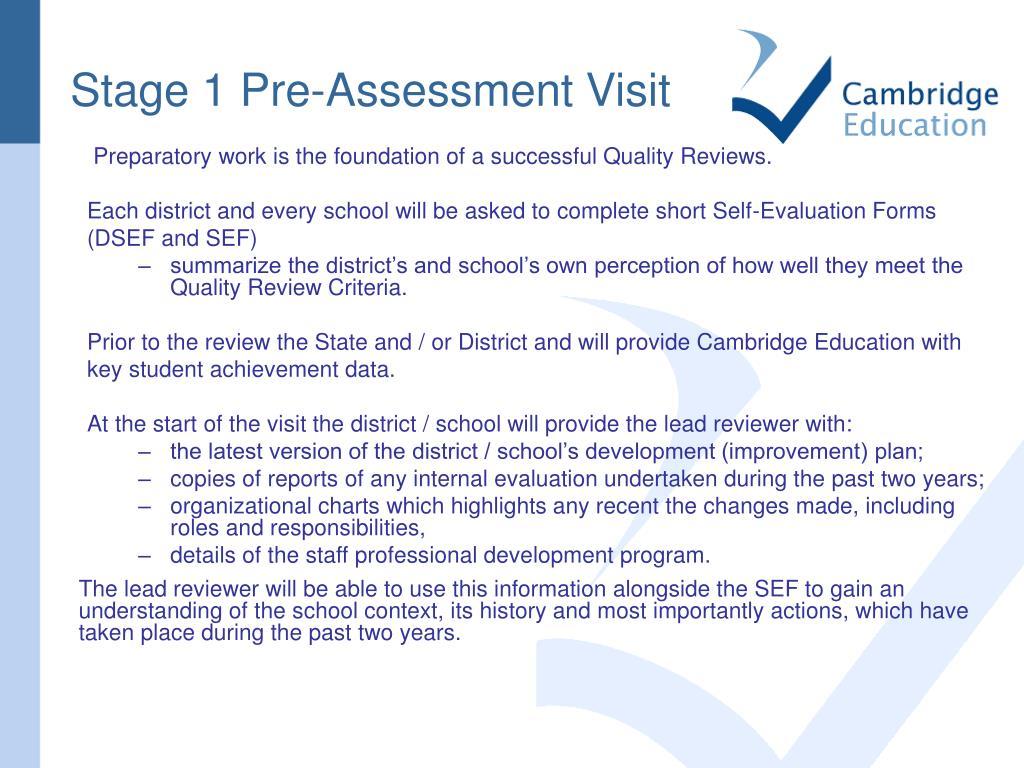 Stage 1 Pre-Assessment Visit