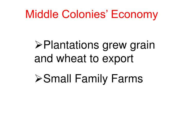 Middle Colonies' Economy