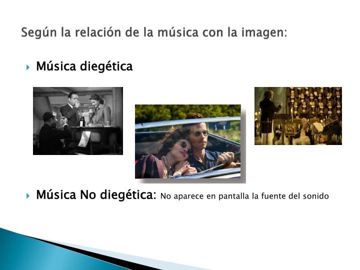 Según la relación de la música con la imagen: