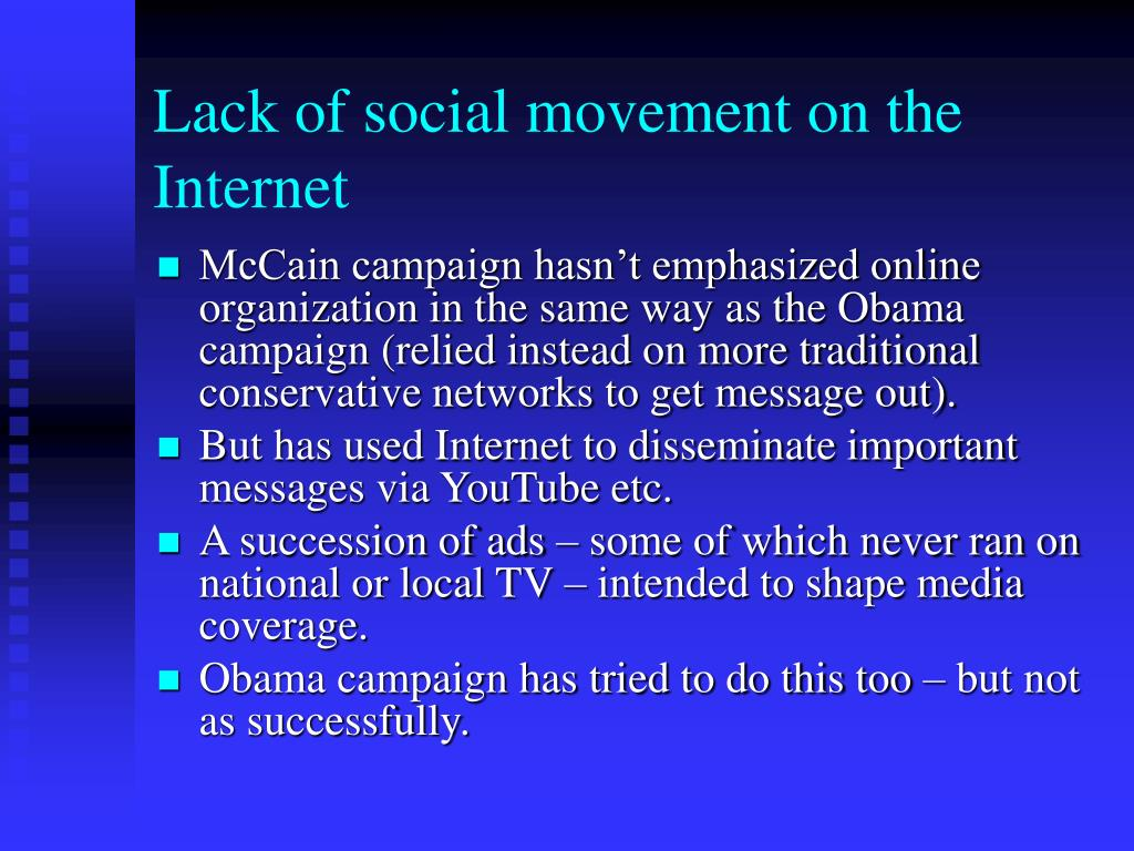 Lack of social movement on the Internet
