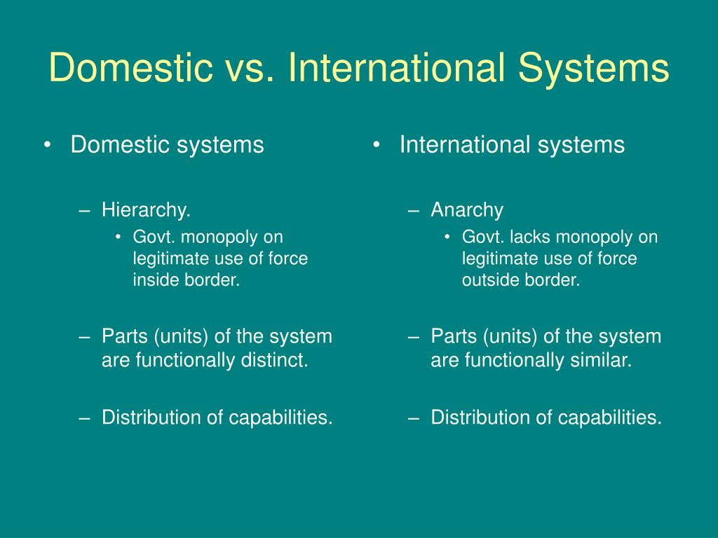 Domestic systems
