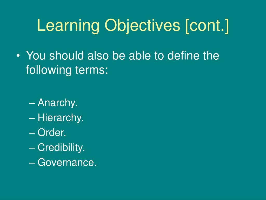 Learning Objectives [cont.]