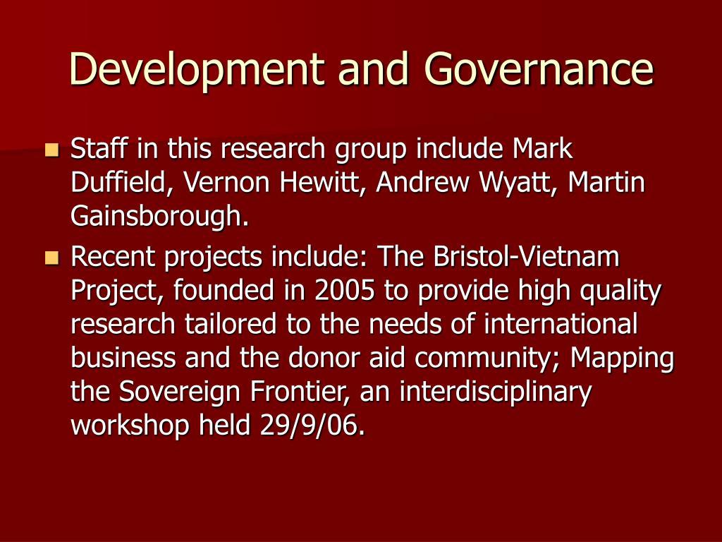 Development and Governance