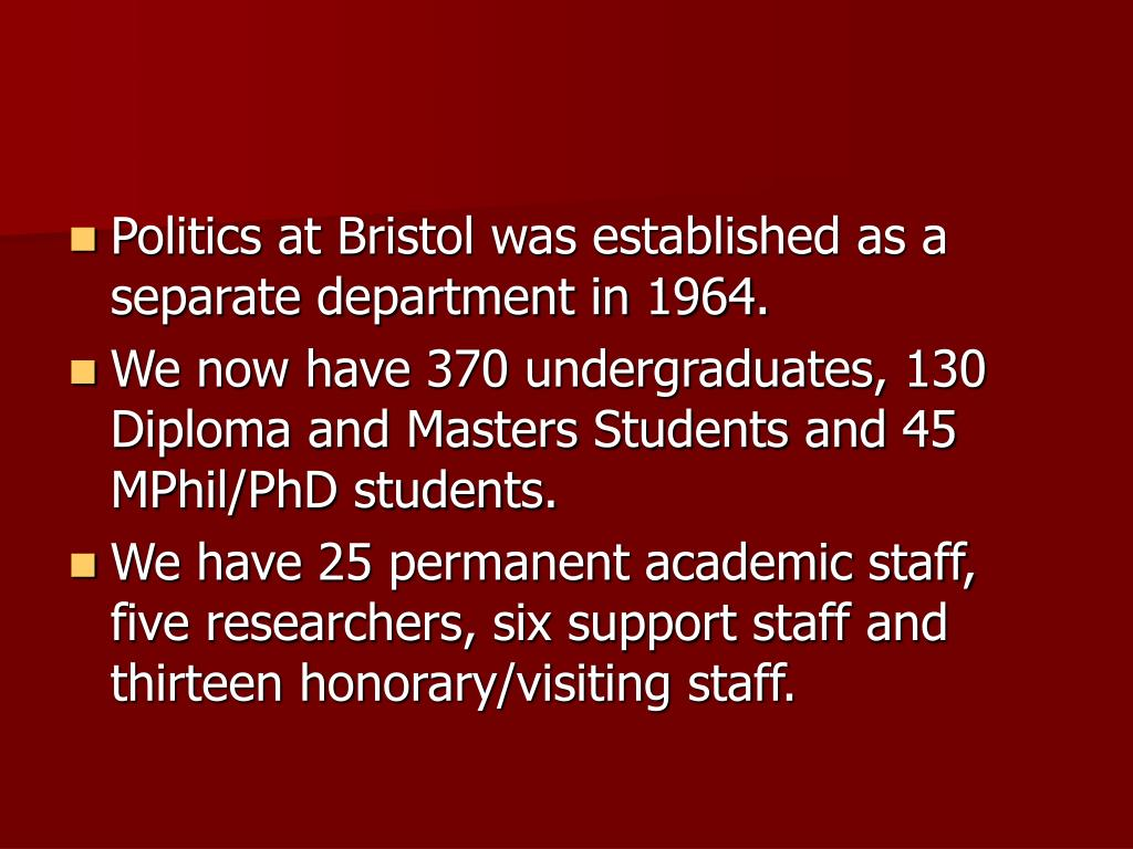 Politics at Bristol was established as a separate department in 1964.