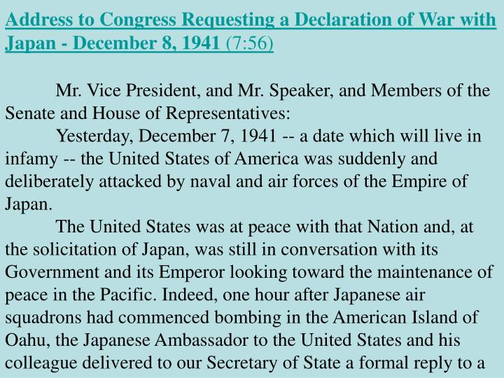 Address to Congress Requesting a Declaration of War with Japan - December 8, 1941