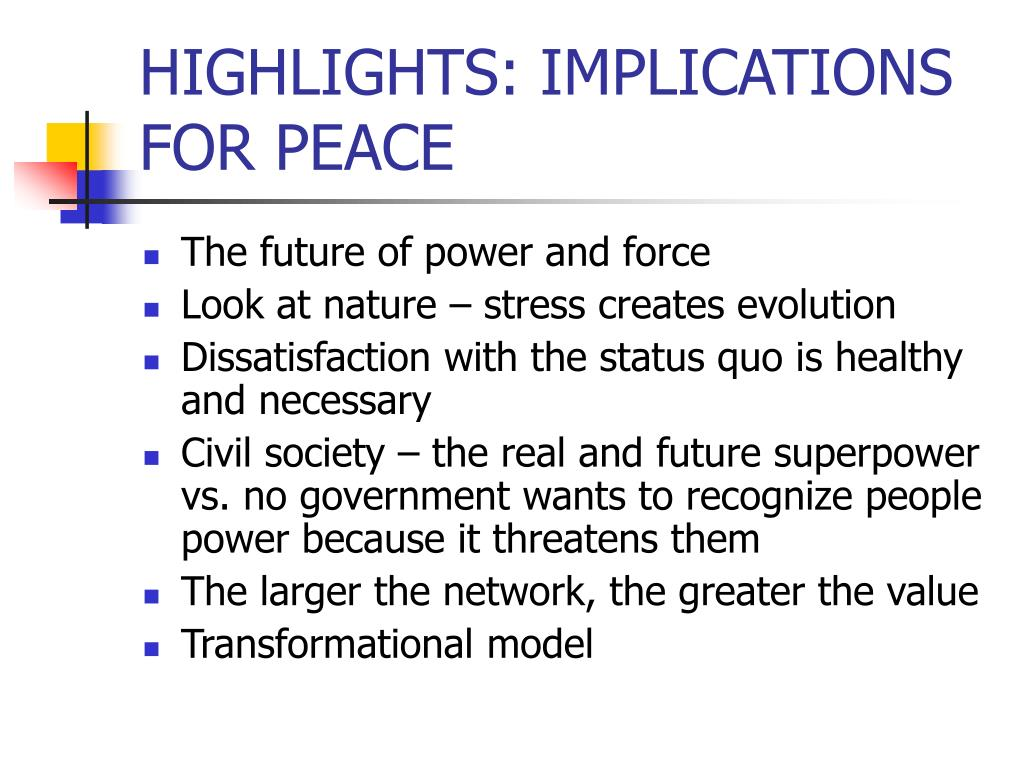 HIGHLIGHTS: IMPLICATIONS FOR PEACE