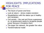 highlights implications for peace