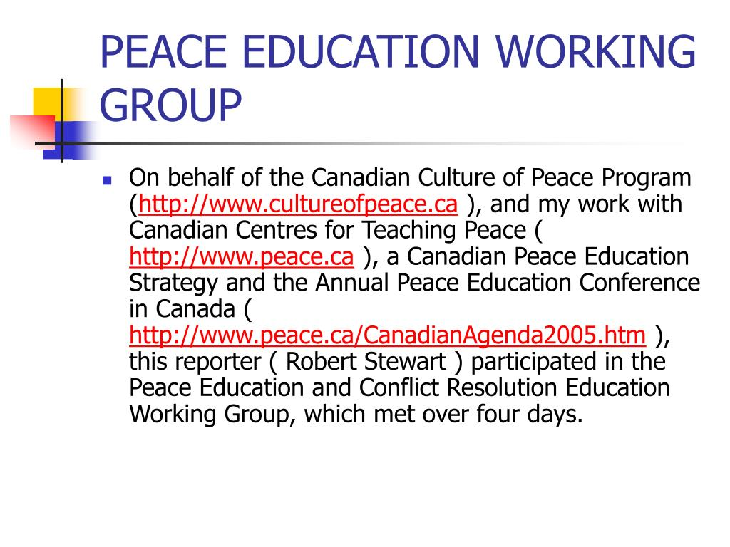 PEACE EDUCATION WORKING GROUP