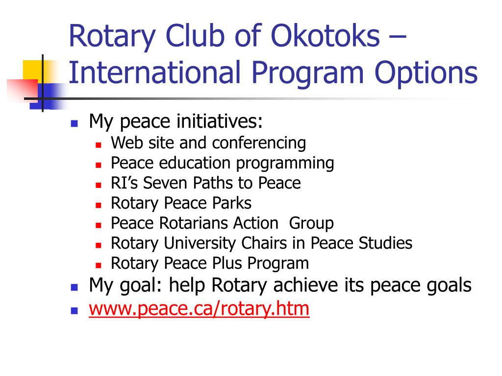 Rotary Club of Okotoks – International Program Options