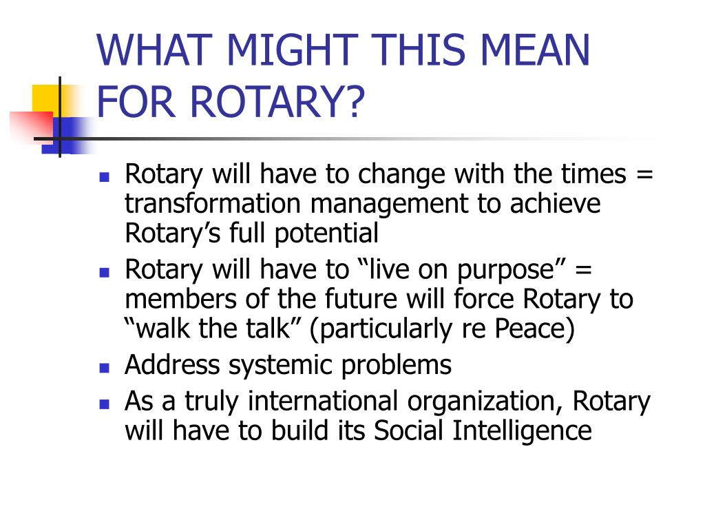 WHAT MIGHT THIS MEAN FOR ROTARY?