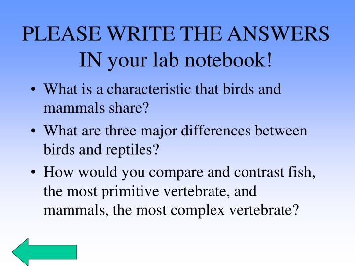 PLEASE WRITE THE ANSWERS IN your lab notebook!