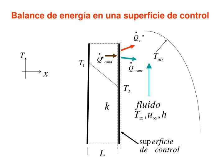 Balance de energía en una superficie de control