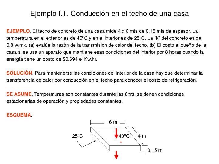 Ejemplo I.1. Conducción en el techo de una casa