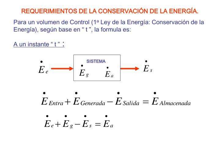 REQUERIMIENTOS DE LA CONSERVACIÓN DE LA ENERGÍA.
