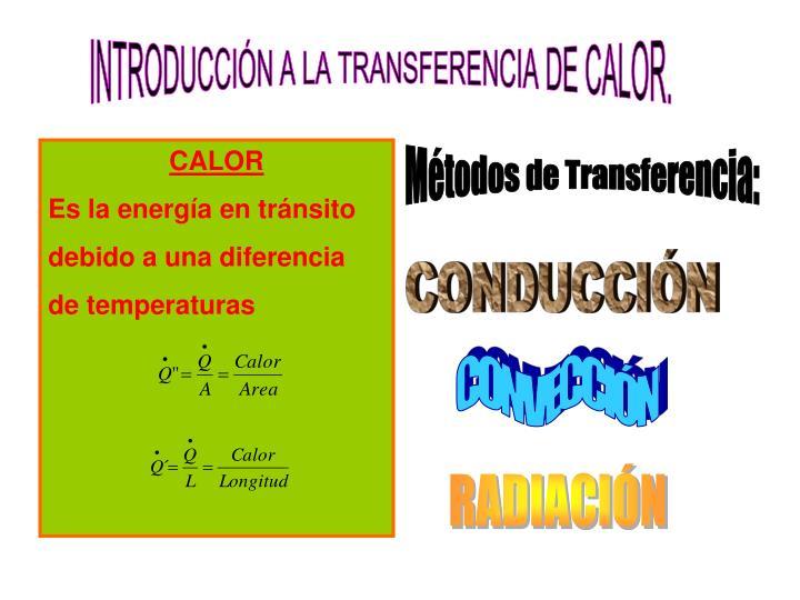 INTRODUCCIÓN A LA TRANSFERENCIA DE CALOR.