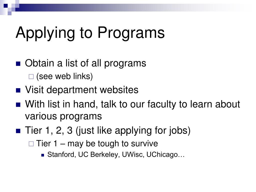 Applying to Programs