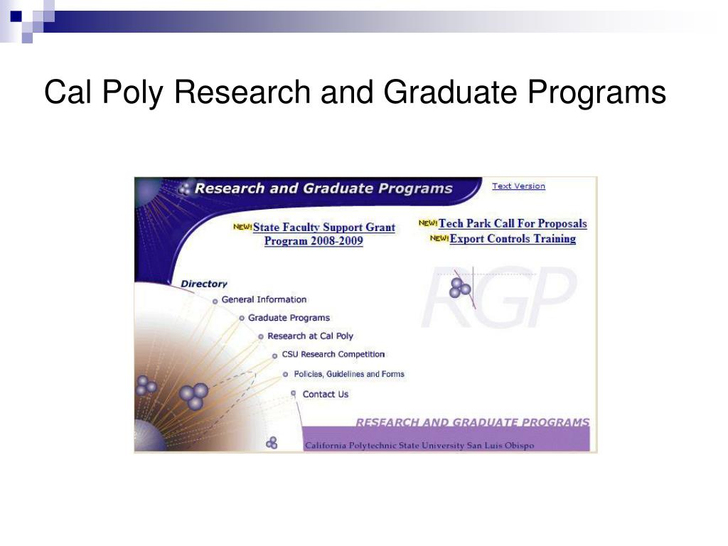 Cal Poly Research and Graduate Programs