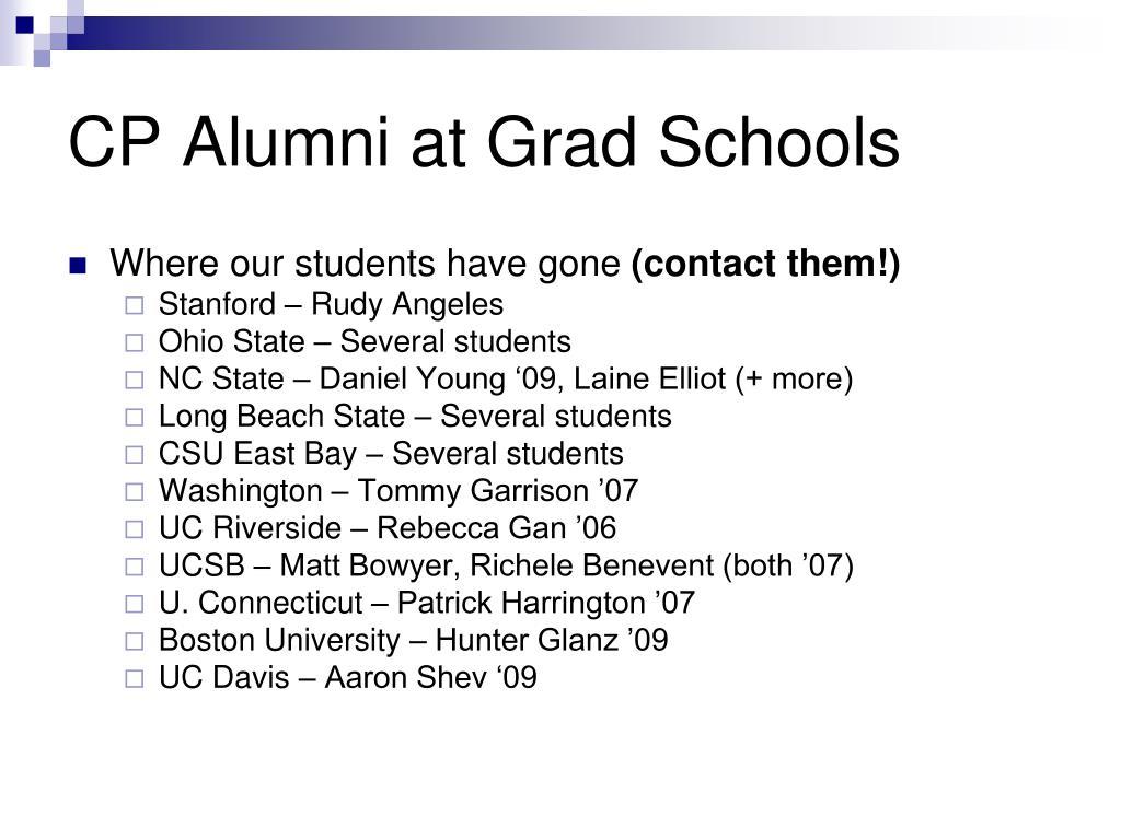 CP Alumni at Grad Schools