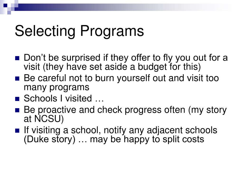 Selecting Programs