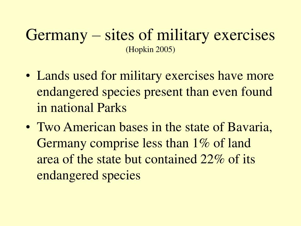 Germany – sites of military exercises