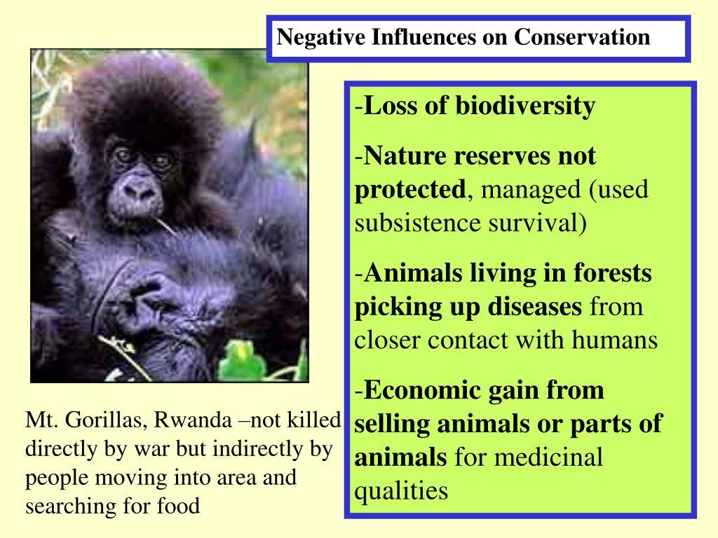 Negative Influences on Conservation