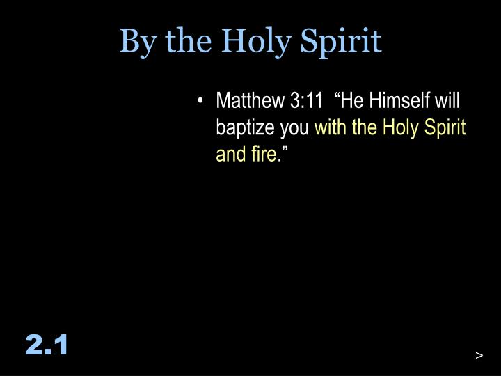 By the Holy Spirit