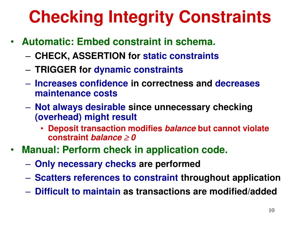 Checking Integrity Constraints