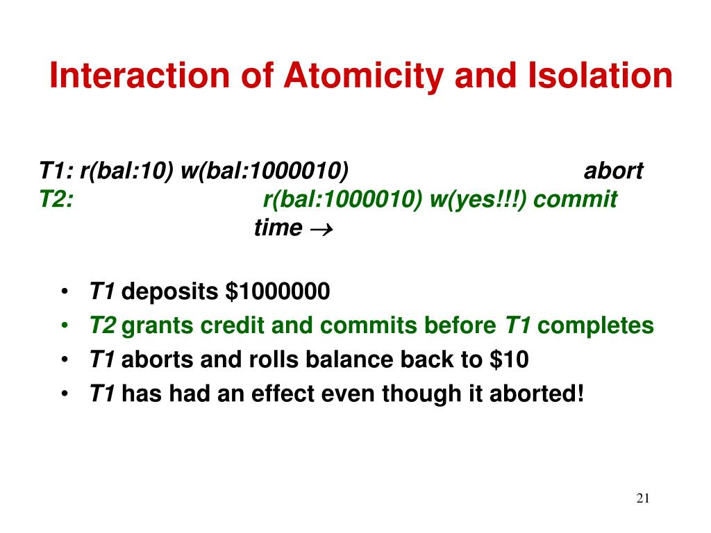 Interaction of Atomicity and Isolation