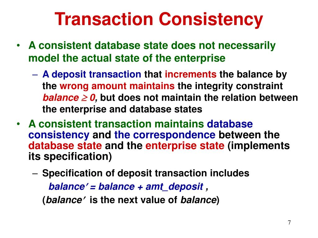 Transaction Consistency