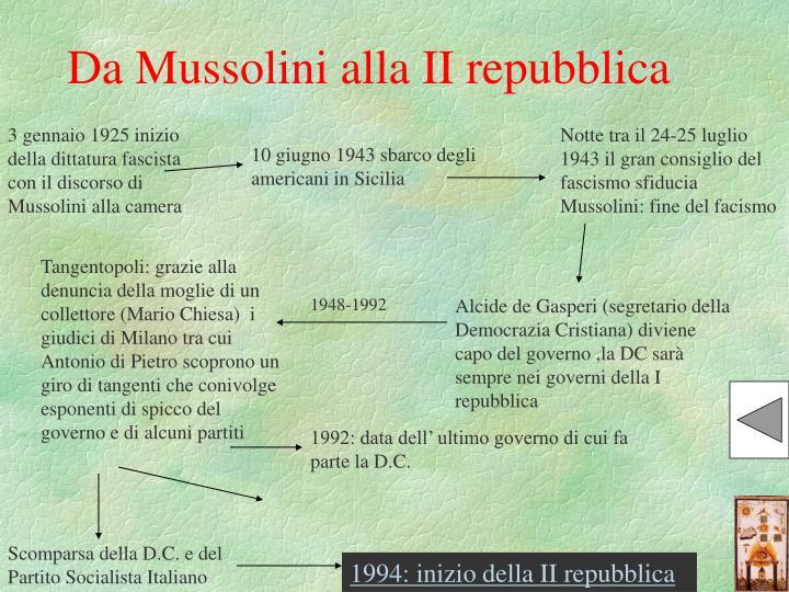 Da Mussolini alla II repubblica