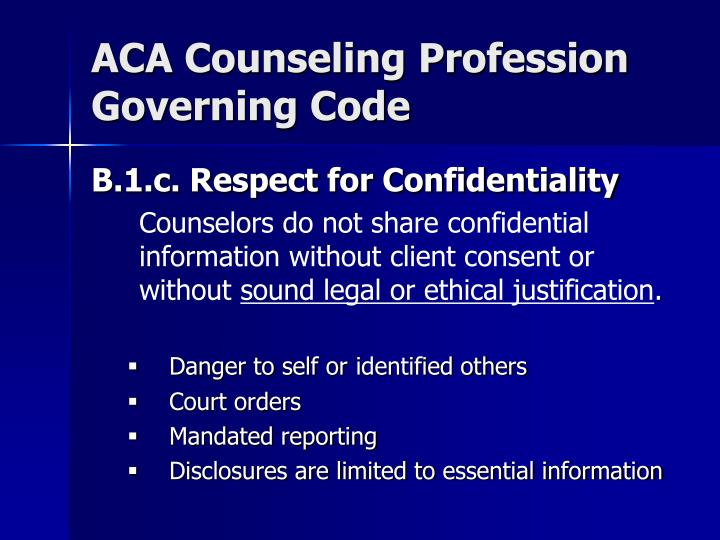 ACA Counseling Profession Governing Code