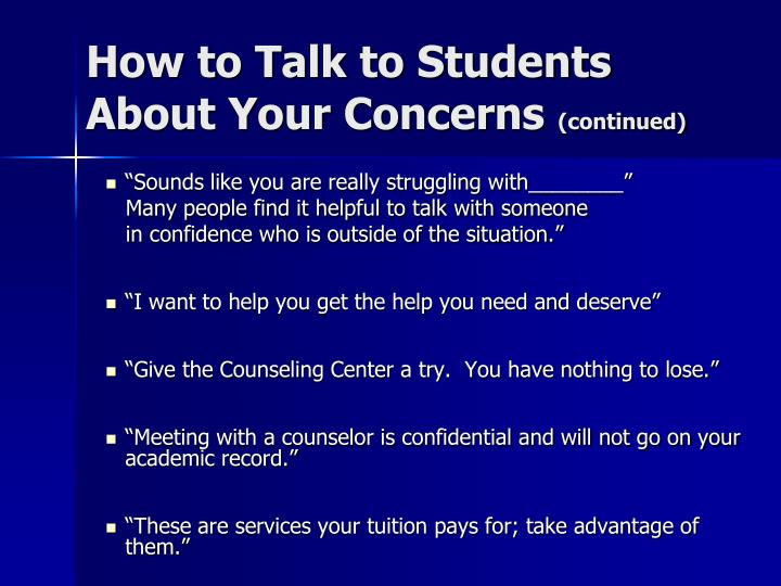 How to Talk to Students About Your Concerns