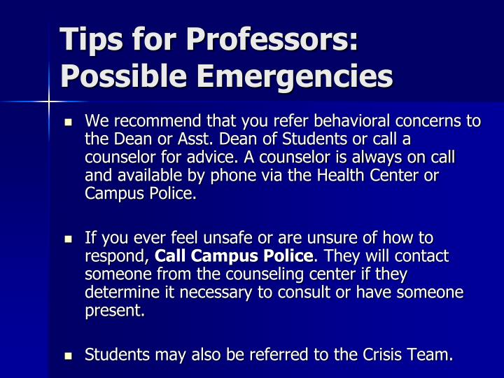 Tips for Professors: Possible Emergencies