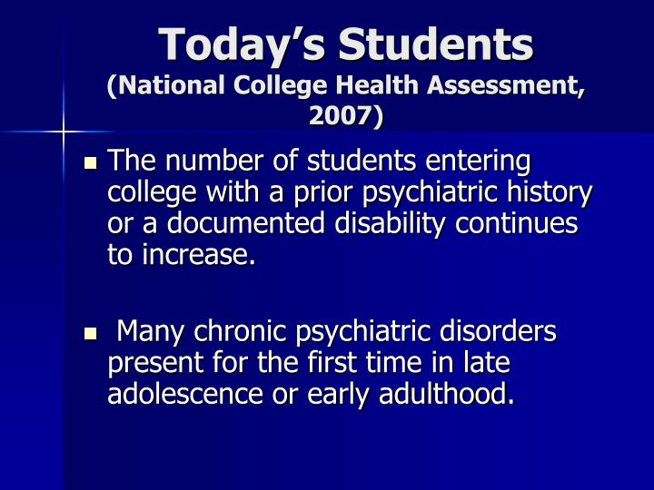 Today s students national college health assessment 2007