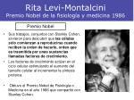 rita levi montalcini premio nobel de la fisiolog a y medicina 19861
