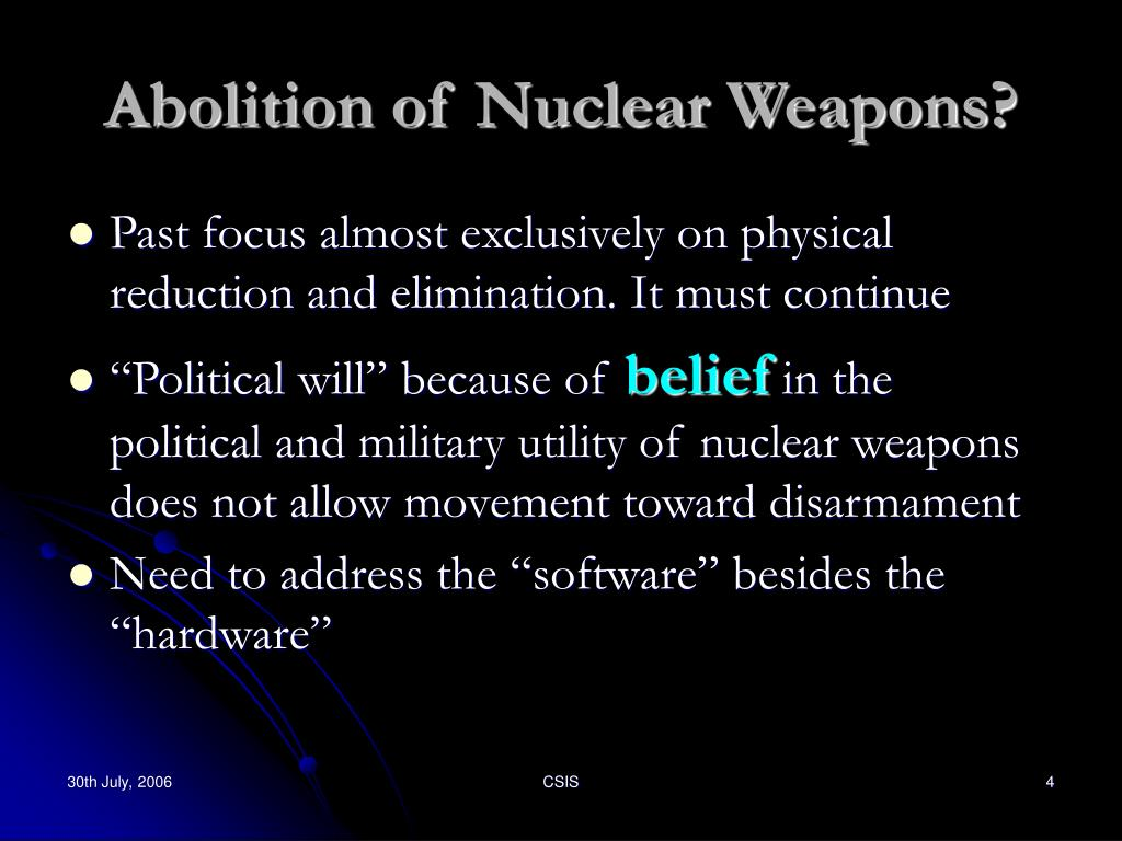 Abolition of Nuclear Weapons?