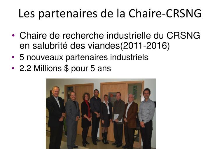 Les partenaires de la Chaire-CRSNG