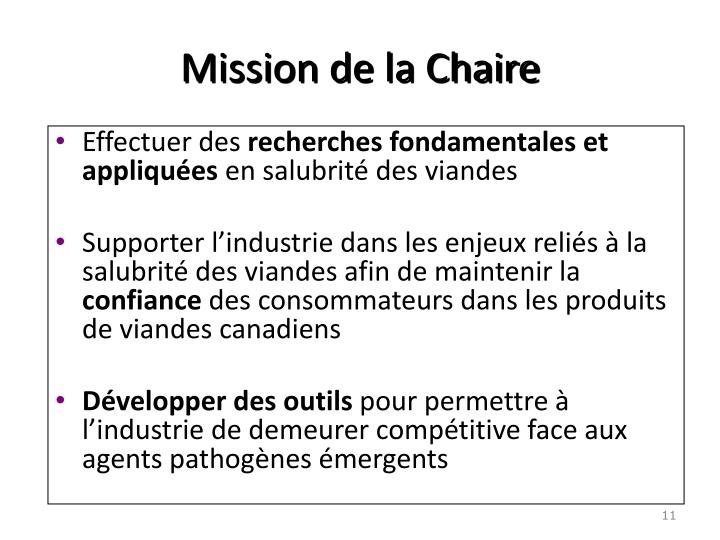Mission de la Chaire