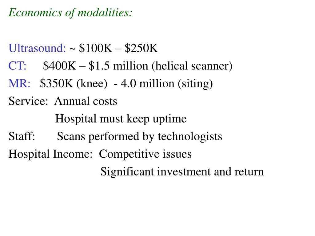 Economics of modalities: