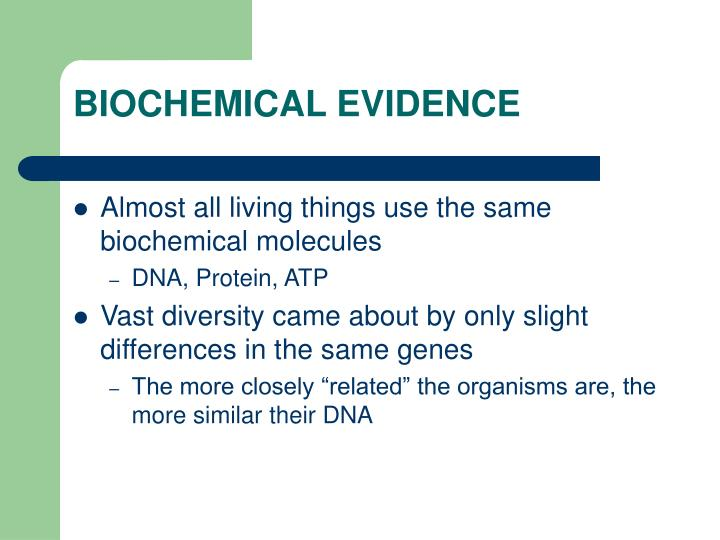 BIOCHEMICAL EVIDENCE