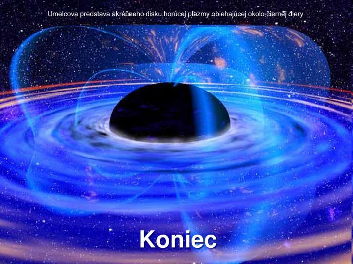 Umelcova predstava akréčneho disku horúcej plazmy obiehajúcej okolo čiernej diery