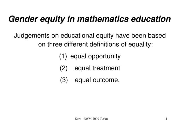 Gender equity in mathematics education
