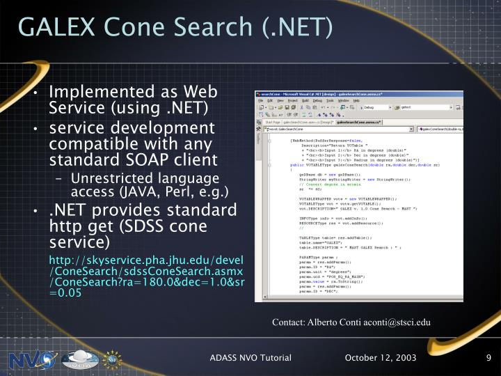 GALEX Cone Search (.NET)