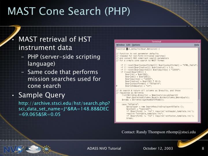 MAST Cone Search (PHP)