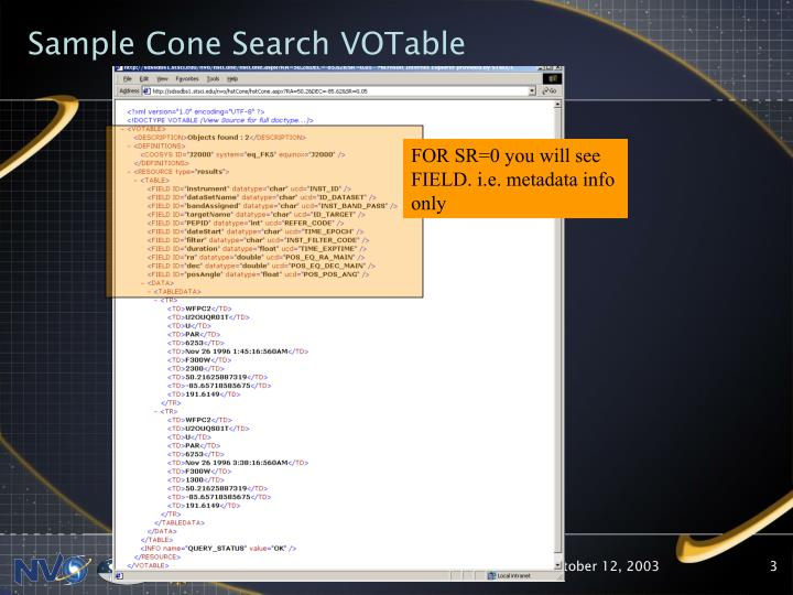 Sample cone search votable